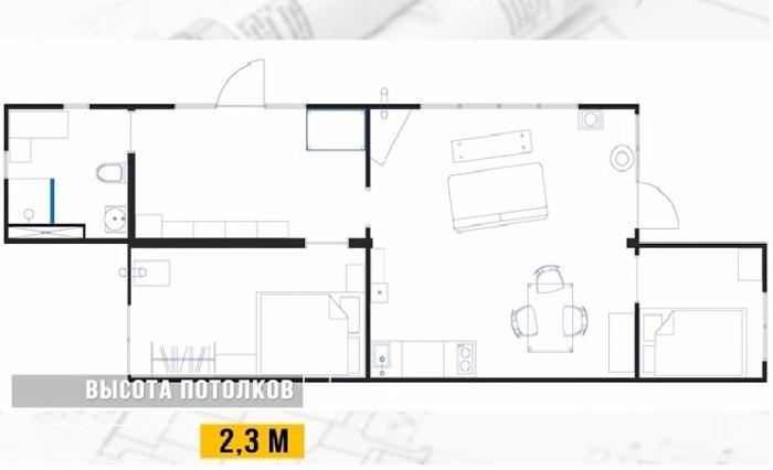 Планировка «Небанального дачного домика» из 2 грузовых контейнеров.
