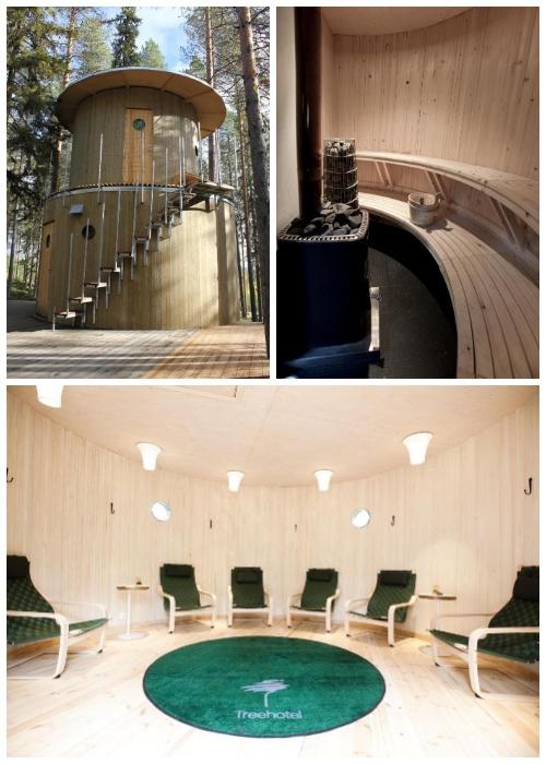 Отдельный домик вмещает сауну, санузлы и ванные комнаты с необходимым оборудованием (Treehotel, Швеция).