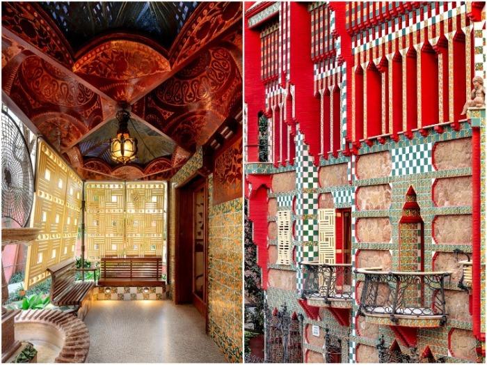 Яркая керамическая мозаика гармонично сочетается с великолепными орнаментами ручной работы (Casa Vicens, Барселона). | Фото: mymodernmet.com/ David Cardelus.