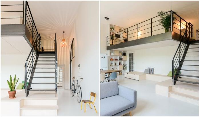 Благодаря высоким потолкам удалось организовать лофтовый уровень (пример одной из квартир). | Фото: futuristarchitecture.com/ cz.pinterest.com.