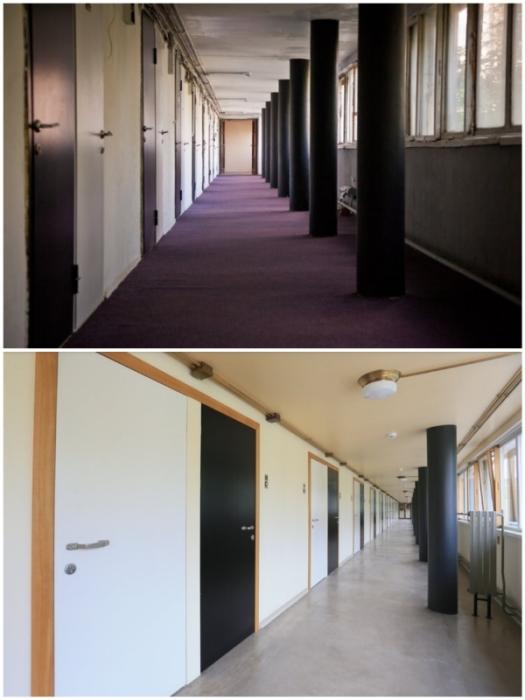 Длинные коридоры с квартирами-ячейками в «Доме Наркомфина».