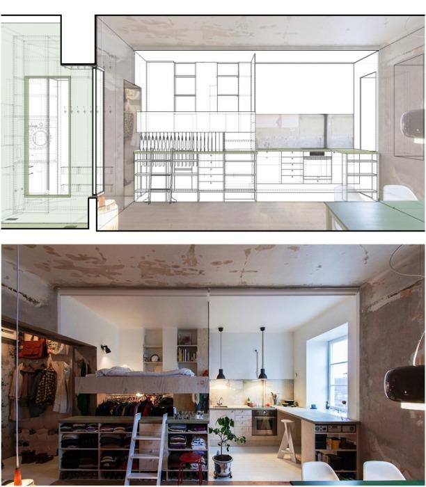 Квартиру девушка условно разделила на две зоны. | Фото: karinmatz.se.