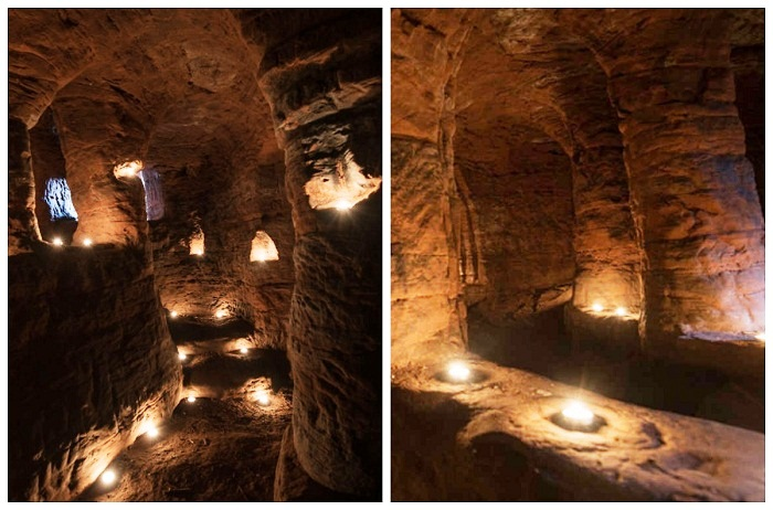 Специальные углубления для свечей вырезаны из камня (Caynton Caves, Великобритания).