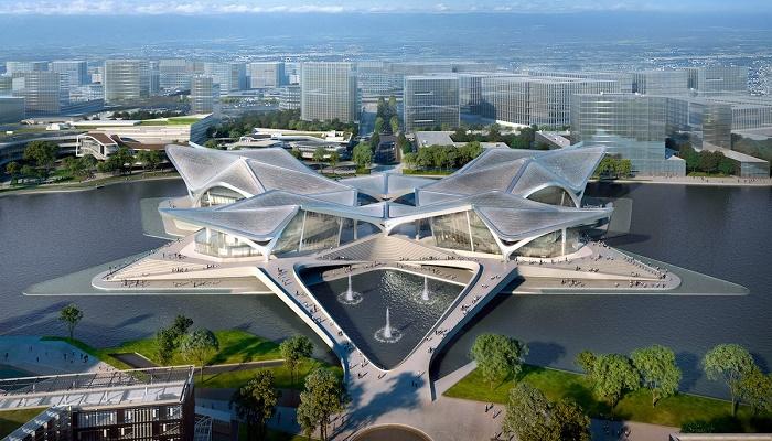Архитектурный комплекс раскинулся с севера на юг на 270 м, а востока на запад – на 170 м (визуализация Zhuhai Jinwan Civic Art). | Фото: mymodernmet.com.