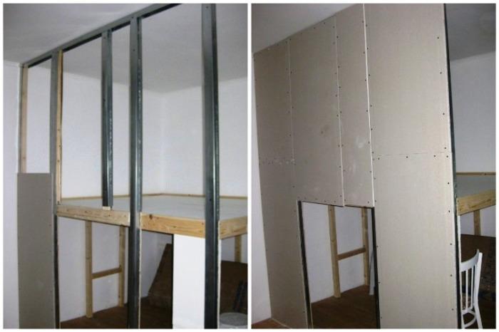 Для создания стены между спальней и гардеробной использовала гипсокартон. | Фото: youtube.com/ Anna_Studio.