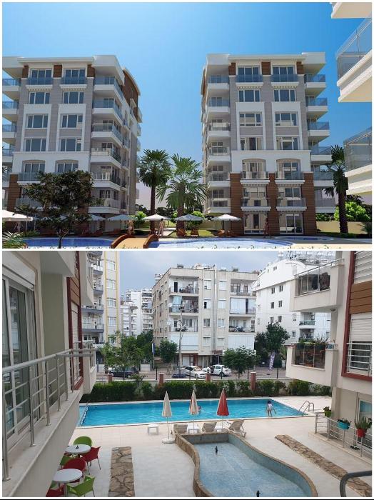 В новостройках Анталии квартиру в жилом комплексе можно купить от 70 тыс. дол. с общей площадью (брутто) более 85 кв.м. | Фото: luxestate-turkey.com/ booking.com.
