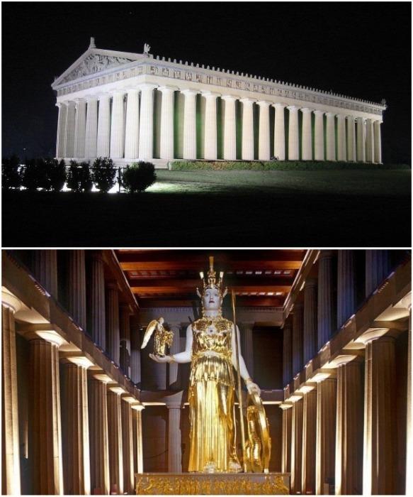 В Нэшвилле была построена полномасштабная копия Парфенона и статуи Афины, созданные согласно научным данным (США). | Фото: newcecropia. blogspot.com.