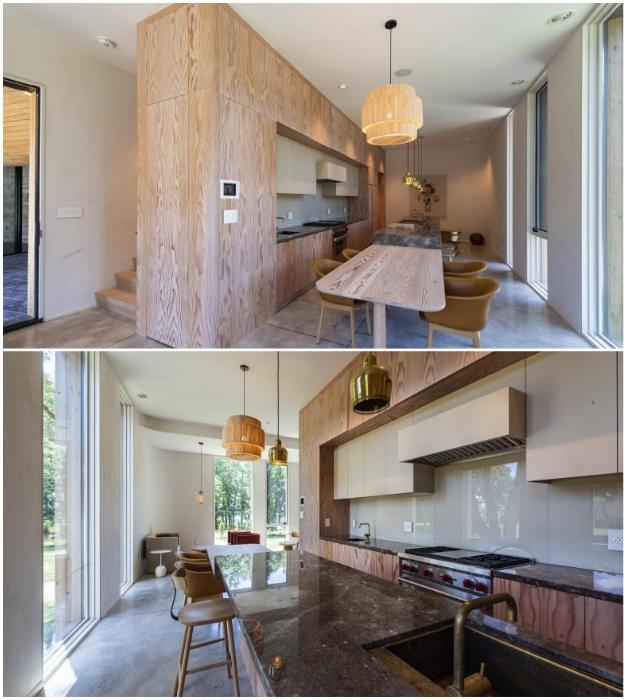 Кухня-столовая в обновленном гостевом доме (Fold House, Гамильтон).