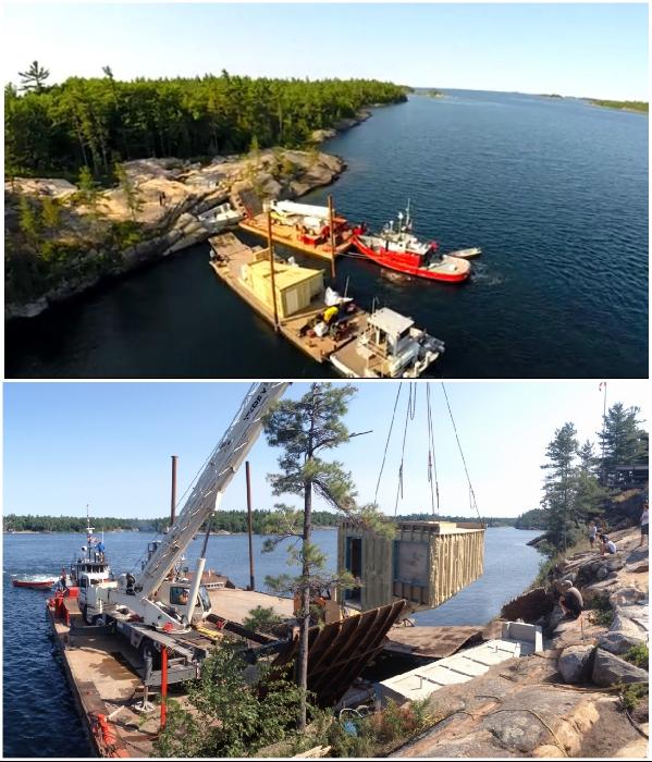 Фасадная часть сауны была собрана на заводе и водным путем доставлена на нужное место («Grotto», Канада). / Фото: partisans.com.