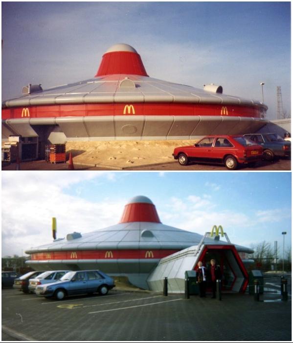«Инопланетный» McDonald's в Великобритании (графство Кембриджшир). | Фото: mayak.org.ua.