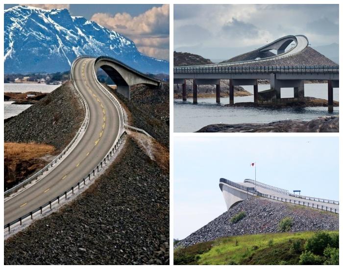 Мост Storseisundet больше похож на трамплин уходящий в море (Норвегия).