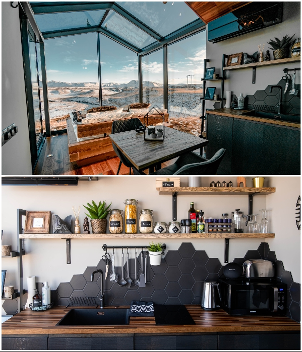 К услугам постояльцев полноценная кухня, в которой есть еще и крупы, макароны, кофе, чай и сахар. | Фото: mymodernmet.com.