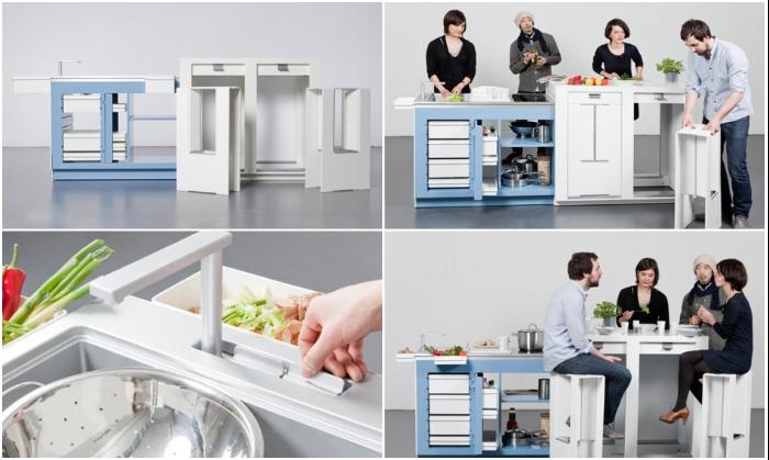 Много места не надо, чтобы приготовить вкусный ужин на 4-х гостей (мини-кухня «Come together»). | Фото: remont-39.ru.