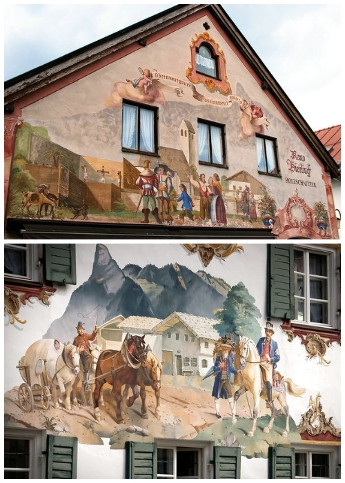 На некоторых домах можно увидеть бытовые сцены из жизни баварцев тех времен (деревня Обераммергау, Германия).