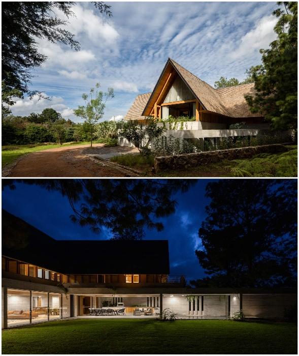 Комбинация различных стройматериалов и стекла сделало пространство динамичным и колоритным (Валье-де-Браво, Мексика).