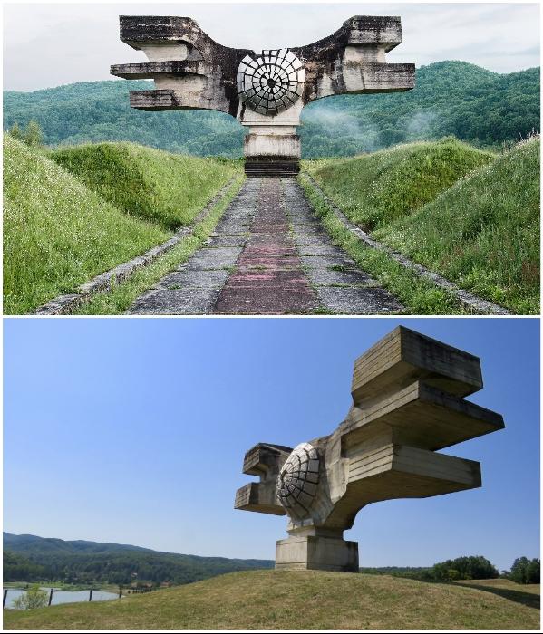 Абстрактный железобетонный монумент 10 м в высоту и 20 в ширину стал символом борьбы народа за освобождение (Погарич, Хорватия). | Фото: antifasisticki-vjesnik.org/ lifter.com.ua.