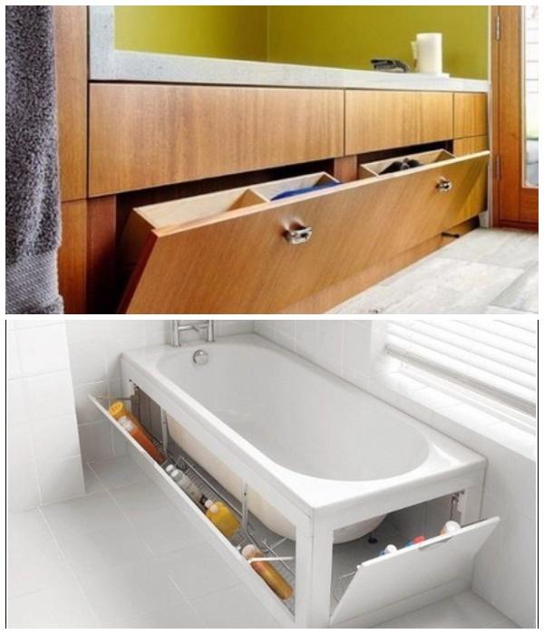 Откидные ящики под ванной позволят иметь все банные принадлежности под рукой.