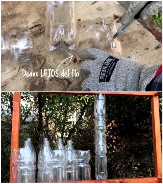 Разрезать бутылки нужно так, чтобы они плотно садились друг на друга.