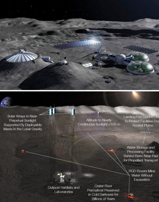Планы НАСА с описанием того, как планируется добывать воду и водородное топливо на южном полюсе Луны. | Фото: the-sun.com.