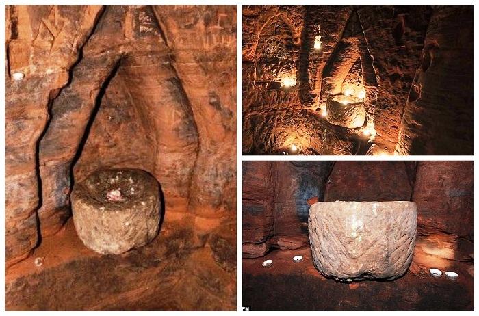 В подземном храме найдены алтарь и жертвенная чаша (Caynton Caves, Великобритания).