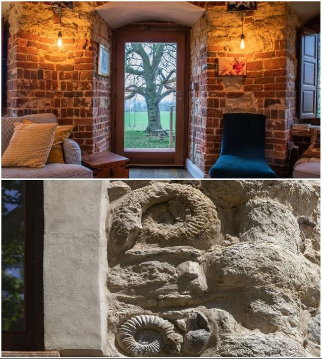 Новые владельцы решили сохранить не только каменную кладку, но и использовать найденные окаменелости в отделке стен («Aylesbury Vale Buckinghamshire»). | Фото: granddesignsmagazine.com.