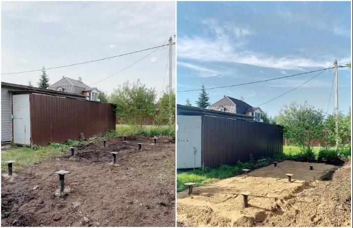 Для установки дома понадобилось выровнять участок, забить сваи и отсыпать подушку. © aida_beglova.