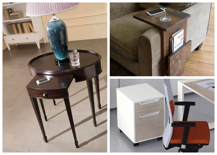 Приставные столы могут иметь разнообразные конфигурацию и дополнения.