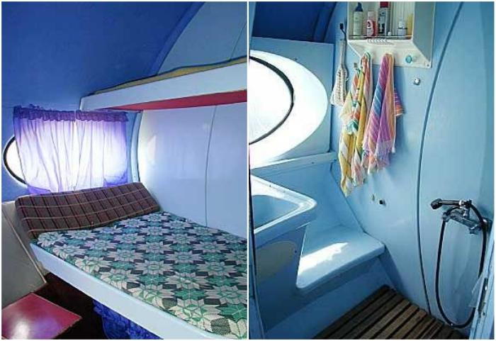 Незатейливый, но довольно комфортный «инопланетный» интерьер мини-гостиницы «Тарелка» (Карачаево-Черкесская Республика). | Фото: dombayinfo.ru.