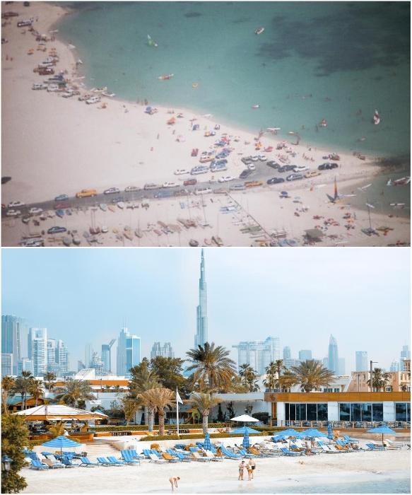 Пляж начала 90-х прошлого века и современные зоны отдыха Дубаи. | Фото: chatru.com/ tonkosti.ru.