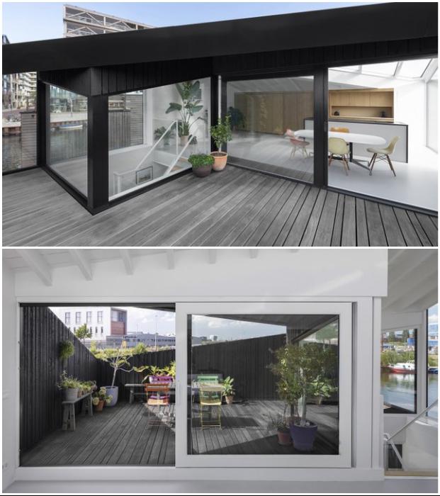 Из кухни есть выход на террасу и лоджию (Schoonschip, Амстердам).