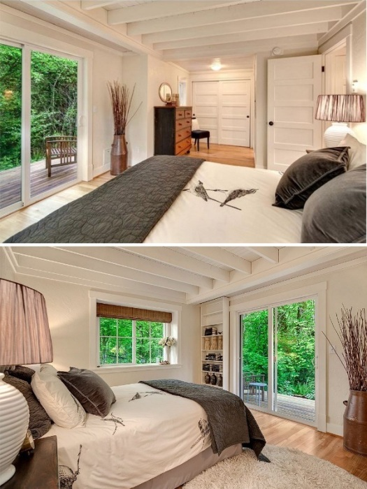 Основная спальня имеет выход на открытую террасу с задней стороны дома (коттедж Kvale Hytte, США). | Фото: smallhouseswoon.com.