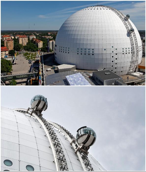 Уникальный лифт Globen Skyview на огромной полусфере Ericsson Globe Arena – впечатляющее зрелище (Стокгольм, Швеция).