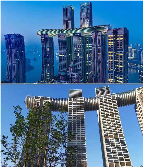 Внутри стеклянного моста «Crystal», проходящего над 4 небоскребами оформлены: рестораны, галерея, сады с деревьями и смотровая площадка (Чунцин, Китай). | Фото: booking.com/ tripadvisor.com.