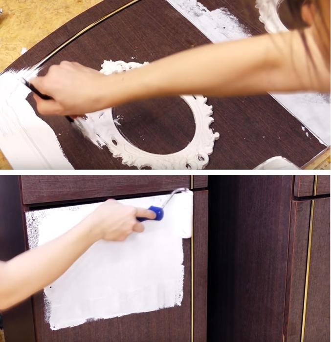 При помощи кисточки и валика все деревянные поверхности нужно покрасить. | Фото: youtube.com/ © DrujkaLena.