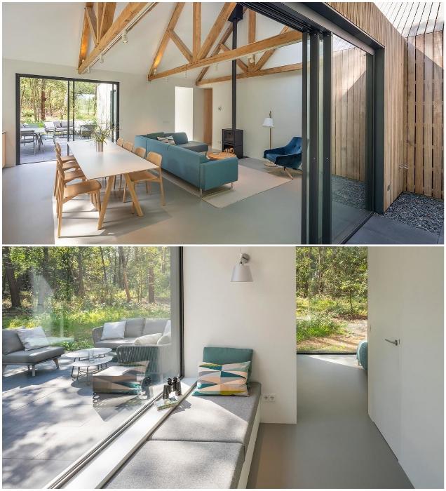 В гостиной есть не только уединенная зона отдыха, но и выход на открытую террасу («Villa Tonden», Нидерланды). | Фото: visualatelier8.com.