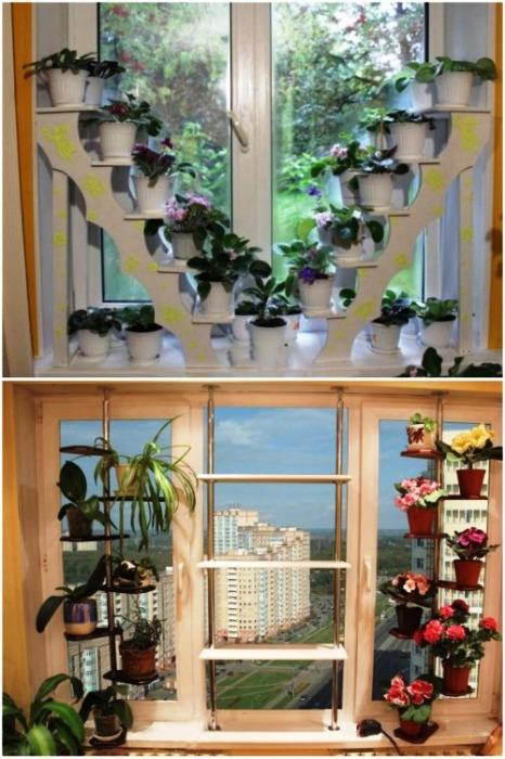 Интересные конструкции этажерок для цветов в оконных проемах. | Фото: sami-sdelaem.ru.