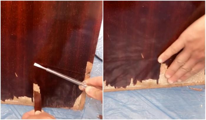 Все имеющиеся отслойки и сколы нужно убрать и зашкурить поверхность. | Фото: youtube.com/ © SULTANIN OYUNCAK ATOLYESI.