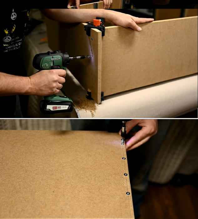 Процесс сборки каркаса комода. | Фото: youtube.com / © My DIY life.