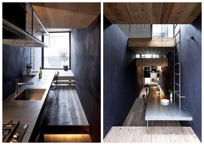 Кухня и столовая находятся на втором этаже («Ultra-Narrow House», Токио).