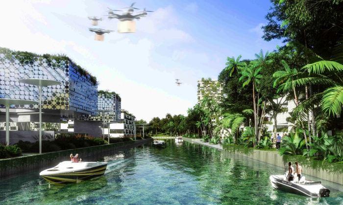 Ветки каналов по всему городу спасут от жары и станут местом отдыха горожан (визуализация Smart Forest City, Мексика). | Фото: stefanoboeriarchitetti.net