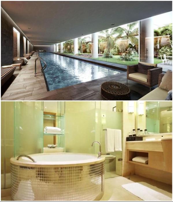 Гидромассажные ванны и бассейн с подземным экзотическим садом смогут порадовать отдыхающих. | Фото: loveproperty.com.