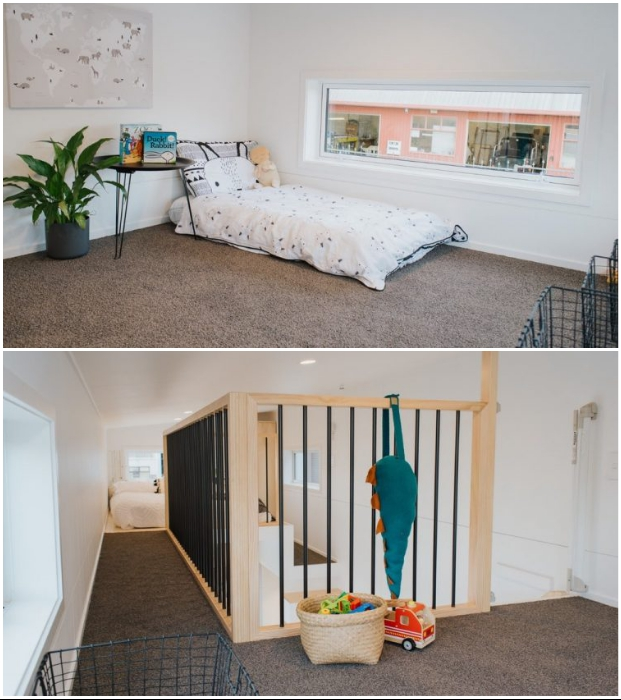 В крошечном домике Dance Tiny House обустроена детская комната с безопасными перилами (Новая Зеландия). © Build Tiny.