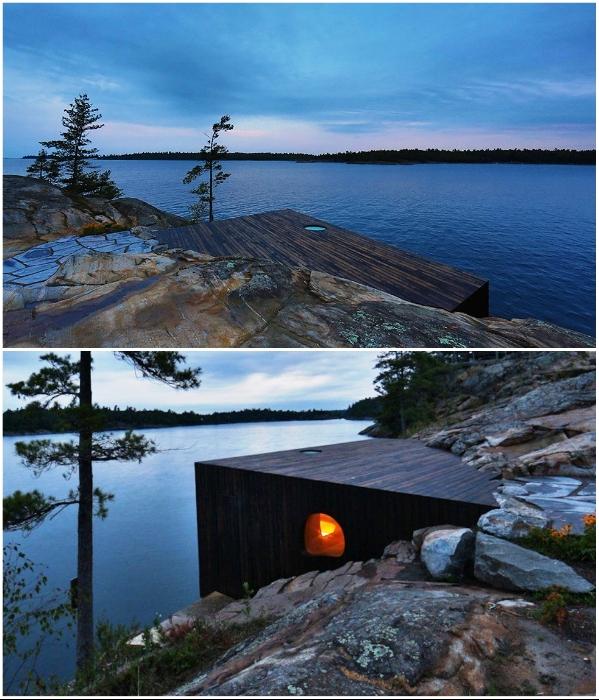 Часть стены сауны интегрирована в скальную породу берега («Grotto», Канада). nashvancouver.com/ hqroom.ru.