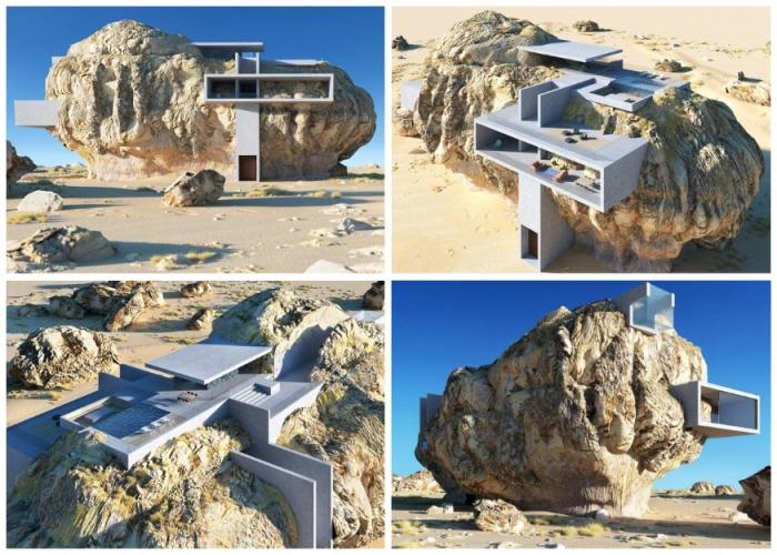 «Дом внутри скалы» – футуристический 3D проект шанхайского архитектора Амея Кандалгаонкара. | Фото: designboom.com.