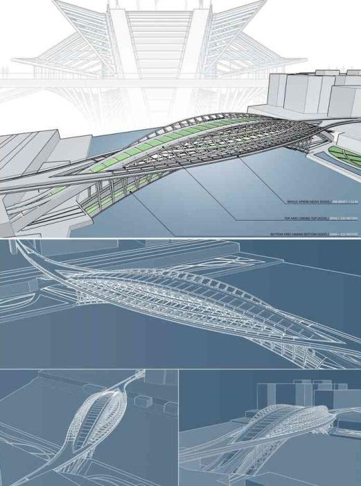 Конструкция пешеходной переправы «Зеленая линия», соединяющей два берега реки Сены (концепт Vincent Callebaut Architectures). | Фото: vincent.callebaut.org.