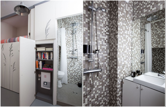 Ванная комната спрятана за дверью шкафа.