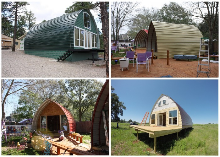 Варианты каркасных мини-домиков, разработанные американской компанией Arched Cabins.