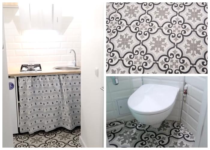 Оригинальная напольная плитка украсила интерьер кухни-прихожей и ванной комнаты. | Фото: youtube.com.