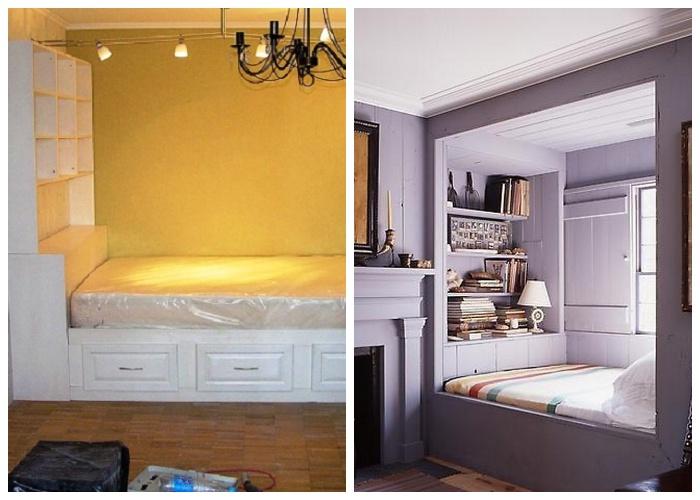 Варианты организации спального места во встроенной нише с полным заполнением имеющего пространства.
