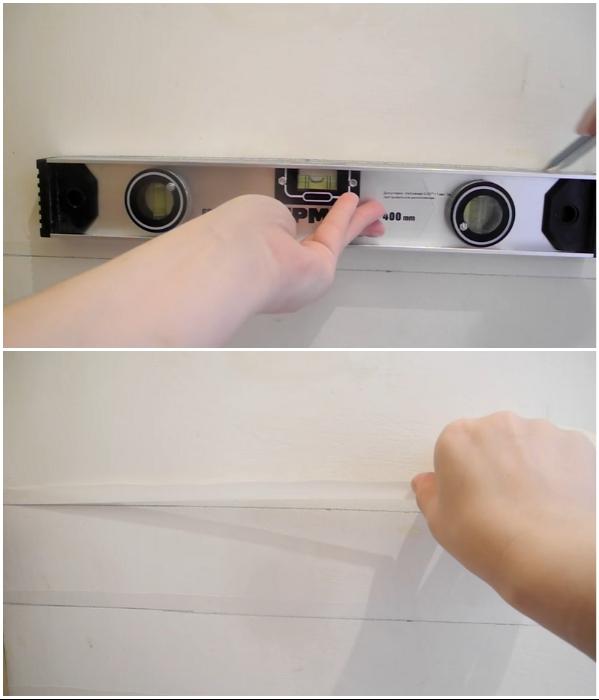Для создания имитации кирпичной стенки нужно сделать разметку и приклеить полоски малярной ленты шириной 1 см. | Фото:  youtube.com/ © Екатерина Басми.